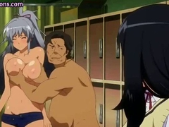 Busty anime babe gets old fat cock